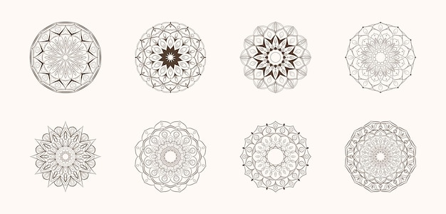 Hand drawn sketch mandala art set