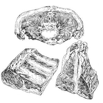 Набор рисованной эскиз мяса. ломтики баранины, говяжье мясо, баранья ножка, ребра. продукт мясного магазина.