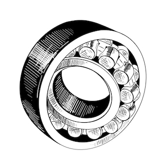 Hand drawn sketch of metal bearing in black