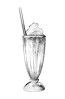 Hand drawn sketch of milkshake in monochrome