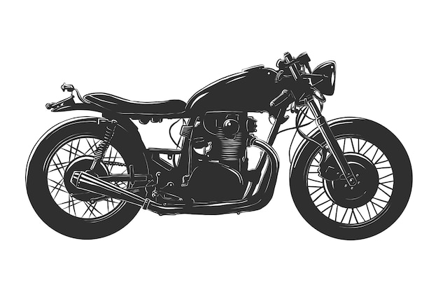 Hand drawn sketch of motorcyrcle in monochrome