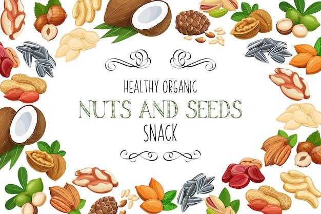 Ручной обращается эскиз орехи и семена