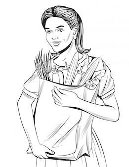 食料品の買い物をしている幸せな美しい女の子の手描きのスケッチ