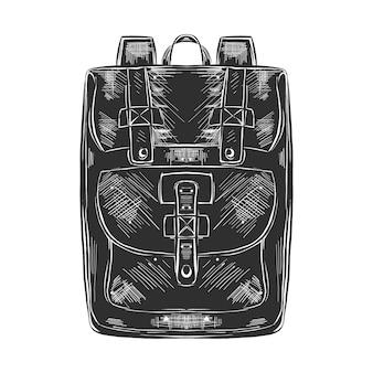 흑백에서 가방 팩의 손으로 그린 스케치