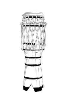 Ручной обращается эскиз бразильского барабана в черном