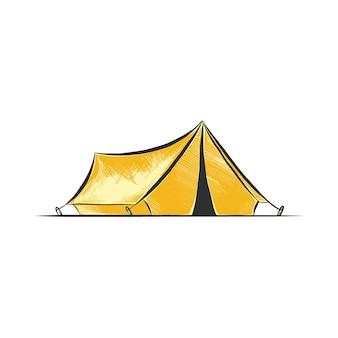 Ручной обращается эскиз палатки для кемпинга в красочных