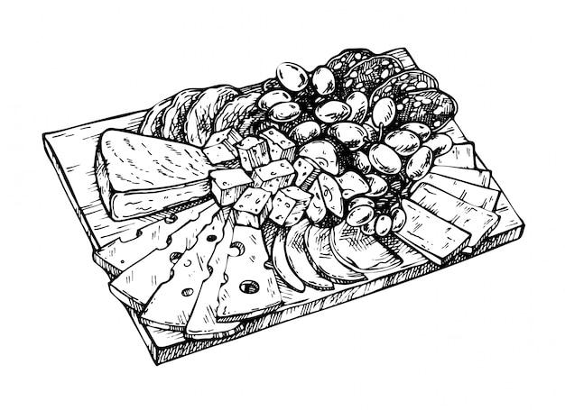木の板にチーズ、肉、ブドウ、リンゴ、サラミ、豚肉の手描きのスケッチ。酪農製品のチーズ。刻まれたスタイル