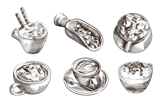 Рисованный эскиз кофейный набор. набор включает капучино, латте, эспрессо, американо, кофе с молоком, мокко, плоский белый кофе, эспрессо со взбитыми сливками, кофейные зерна на деревянной лопаточке