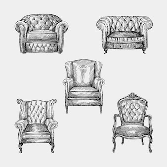アンティーク時代の5つの肘掛け椅子のコレクションの手描きのスケッチ。キルティングと長い背もたれを備えたチェスターフィールドの革製アームチェア。アンティーク時代のアームチェア。ヴィンテージのアームチェア。 chesterfieldソファ