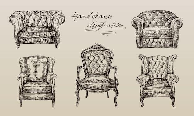 アンティーク時代の5つの肘掛け椅子のコレクションの手描きのスケッチ。チェスターフィールドレザーアームチェア(キルティング仕上げ、長い背もたれ付き)。アンティーク時代のアームチェア。ビンテージアームチェア。