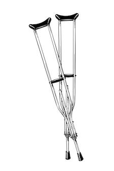 黒の松葉杖の手描きのスケッチ