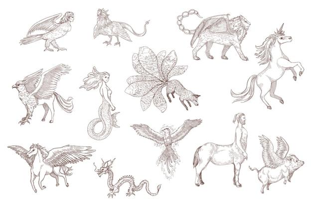 고대 신화에서 환상적인 짐승의 손으로 그린 스케치. 중국 용, 페가수스, 유니콘, 그리핀, 하피, 인어, 흰색 새겨진 그림에 격리