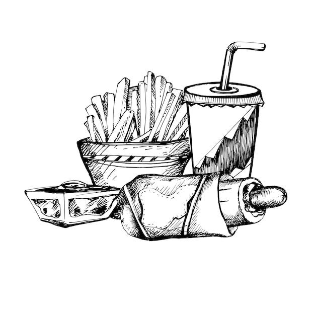 Ручной обращается эскиз темы быстрого питания