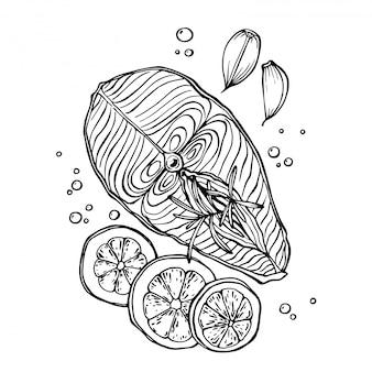 Ручной обращается очерк о свежем стейк из лосося с чесноком, розмарином, лимоном и специями, изолированные на белом.