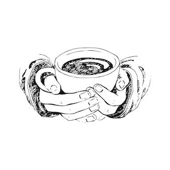 一杯のコーヒー、お茶などを持っている手の手描きスケッチ。
