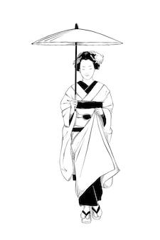 日本の芸者の手描きのスケッチ