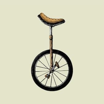 Рисованный эскиз старомодного одноколесного велосипеда