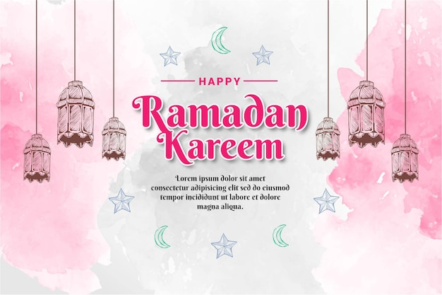 Ручной обращается эскиз фонаря рамадан карим с акварельным фоном