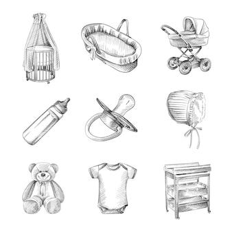 신생아 세트의 손으로 그린 스케치. 유모차, 크래들, 유아용 침대, 테디 베어, 면모, 반팔 바디 수트, 크래들, 탈의실, 젖꼭지가있는 병