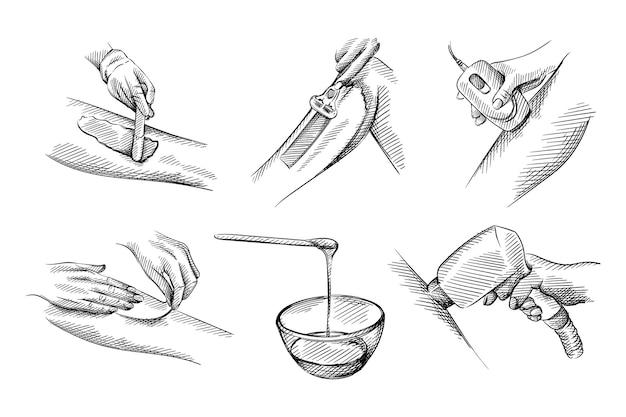 제모, 탈모 세트의 손으로 그린 스케치.