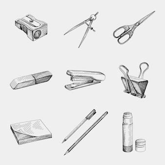 Рисованный эскиз канцелярских принадлежностей для школы и офиса. точилка для карандашей, компас (для рисования), ножницы, ластик, резина, степлер, наклейка для заметок, ручка, карандаш, клей-карандаш, скрепка для бумаг.