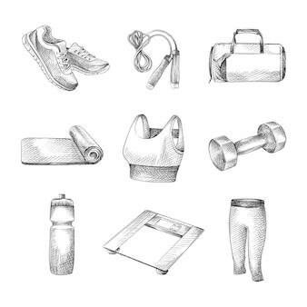ヨガとスポーツ活動のための道具と服の手描きスケッチ。セットには、スニーカー、スポーツバッグ、ウォーターボトル、縄跳び、ダンベル、体重計、ヨガマット、ツーピーススポーツスーツ、トップス、パンツが含まれます