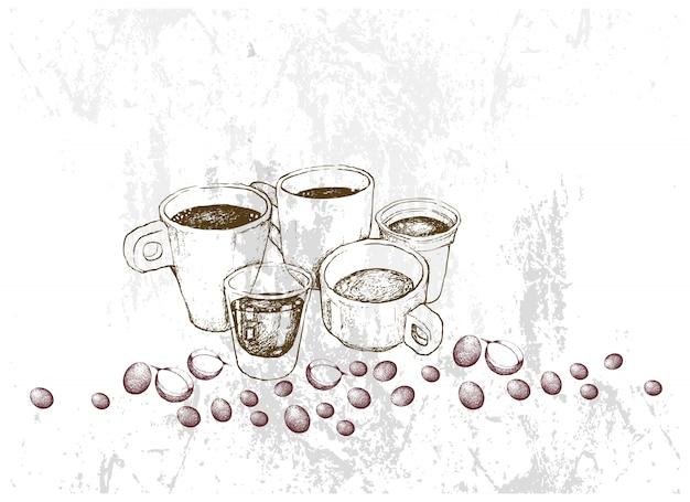 さまざまなホットコーヒーの手描きスケッチ