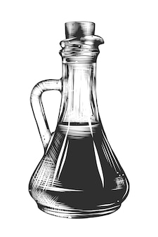 Hand drawn sketch of olive oil in monochrome