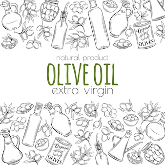 Hand drawn sketch olives