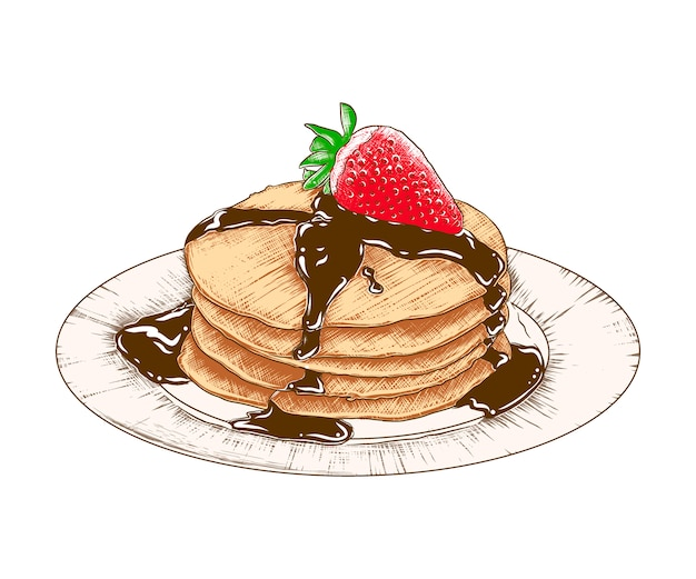 Hand drawn sketch pancakes on the plate