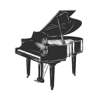 Hand drawn sketch of piano in monochrome