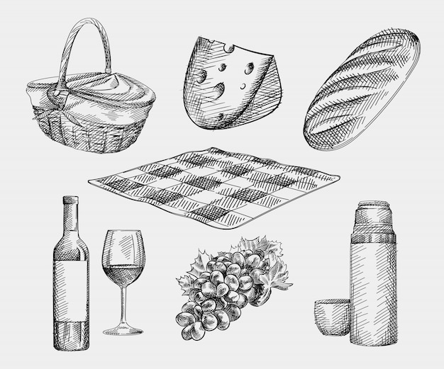 Hand-drawn sketch of picnic set. the set includes basket, cheese, loaf bread, bottle and glass of wine, thermos and a mug, checkered blanket, grapes
