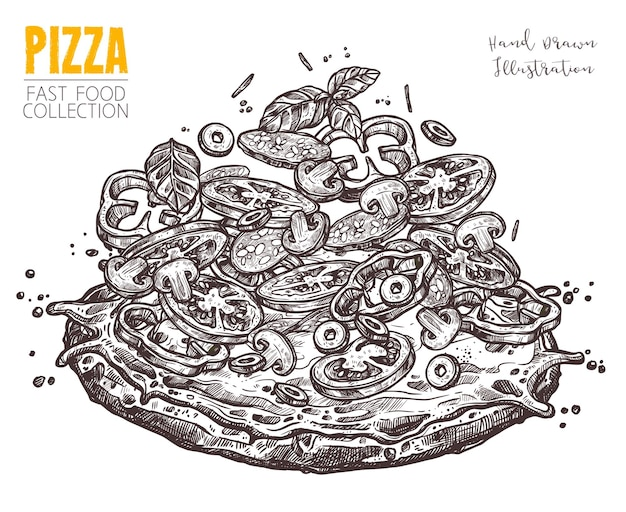 Hand drawn sketch pizza with salami and vegetables. italian dish whole pizza with different ingredients in engraved vintage style
