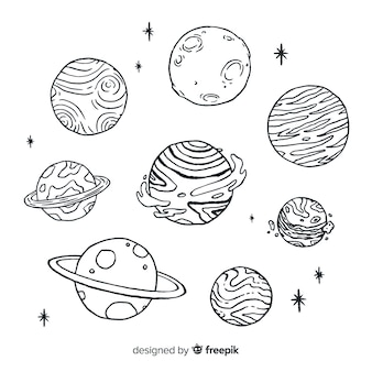 Hand drawn sketch planet collection in doodle style