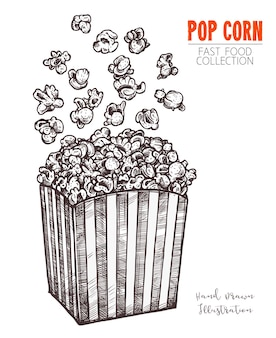 Hand drawn sketch popcorn, food snack in engraved style.