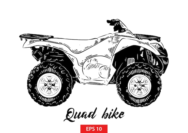Hand drawn sketch of quad bike in black