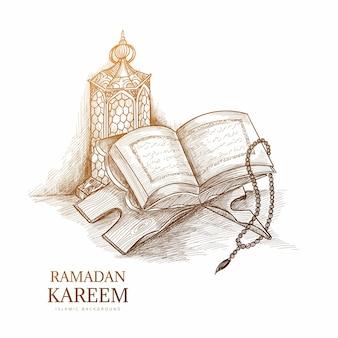 Ручной обращается эскиз рамадан карим поздравительная открытка