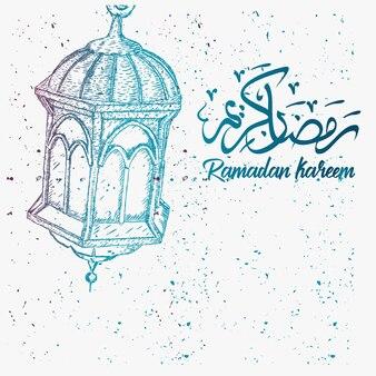 Hand drawn sketch of ramadan lantern with grunge background