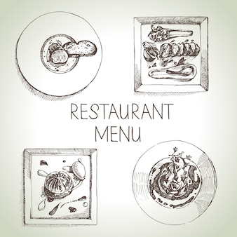 手描きスケッチレストランフードセット。ヨーロッパ料理のメニュー。図