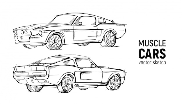 Набор рисованной эскиз ретро автомобилей.