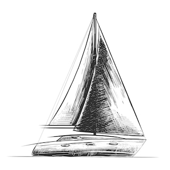 Hand drawn sketch of sea ship in monochrome