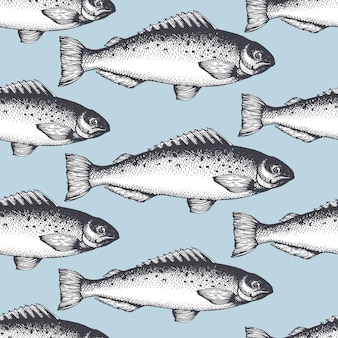 Hand drawn sketch seafood seamless pattern with fish.