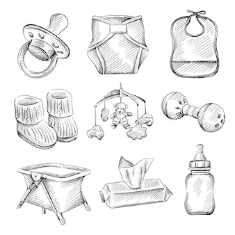 Hand drawn sketch set of baby and infants items.