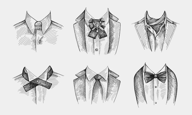 Hand-drawn sketch set of collars with ties. collar with no tie, bow tie and brooch pin,  collar with cravat neckerchief, continental tie, simple traditional tie with no patterns