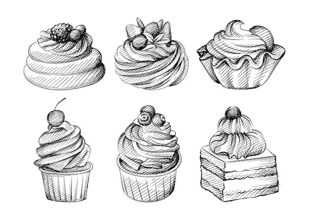 Hand drawn sketch set of different cupcakes with berries, fruits and nuts on a white background. cupcakes, dessert, sweets. muffin.