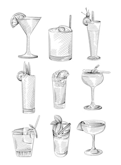 Hand drawn sketch set of drinks in cocktail glasses. alcohol beverages. cocktail drink in highball glass, champagne saucer, rocks glass, shot glass, zombie glass, balloon wine glass, martini glass