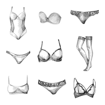 Hand-drawn sketch set of female underwear clothes. set includes closed swimsuit, bra, lace underpants, simple underpants, lace bra, stockings, simple bra, bra without straps, bikini