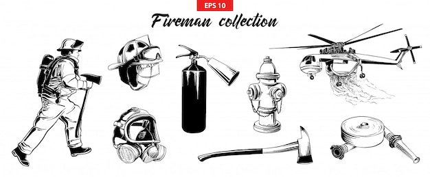 Hand drawn sketch set of firefighters odjects