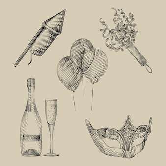 Hand-drawn sketch set of holiday, celebration and party attributes. set includes balloons, bottle of champagne, champagne glass, carnaval mask, firework rocket, confetti