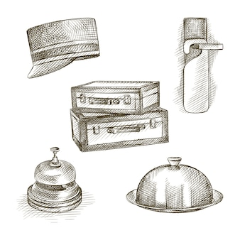 Hand-drawn sketch set of hotel theme. the set includes shoehorn, suitcases, concierge cap, table bell, closed food serving tray